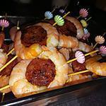 recette Piques de crevettes au chorizo