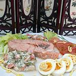 recette DARNES DE SAUMONS A LA MACEDOINES