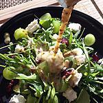 recette Salade roquette, fêta, raisins cramberies sauce  miel et moutarde