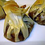 Compotée de pommes caramélisées à la cannelle et son aumonière en brick