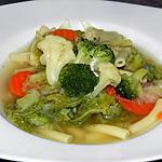recette Un bouillon de légumes et de macaroni venant du frigo