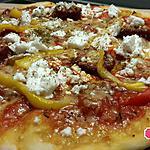 recette Pizza poivrons, chorizo,  fêta