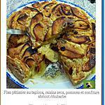 recette Flan pâtissier au tapioca, raisins secs, pommes et confiture abricot /rhubarbe