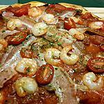 recette Pizza lard et crevettes ( version sans fromage )