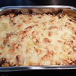 recette Gratin de torsettes au poulet, sauce béchamel au camembert