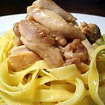 recette Tagliatelles et émincé de volaille sauce au maroilles...
