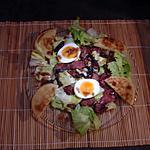 recette Salade de gésiers et foies à l'oignon rouge  ...... sauce vinaigrette balsamique