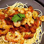 recette Linguine aux crevettes, sauce piquante aubergine et coriandre