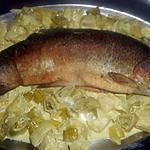 recette Truite saumonée a la fondue de poireaux