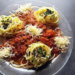 recette '    Les spaghettis   Bolo ....... au basilic  agrémentée de râpée     '