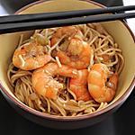 recette Nouilles sautées aux crevettes