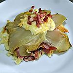 recette Fleurs de chicons au coeur de fromage aux noix sur carré de pâtes