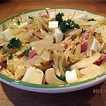 recette salade choux aux lardons et cubes de brebis