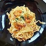 recette Fettuccine à la crème et crevettes épicées