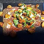 recette Salade au carpaccio de boeuf et pommes frites