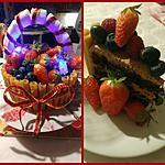 recette Le panier de fruits     ...Anniversaire         .....  à la ganache kinder maxi