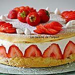 recette Fraisier au sirop de fraise-basilic et liqueur de basilic, sans beurre