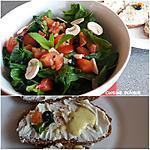 recette Salade composée (épinards, champignons, tomate, orange, myrtilles) sauce vinaigrette orange moutarde miel