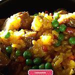 recette Risotto poulet merguez, poivrons , petits pois , curcuma et épices à paella