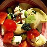 recette Salade d'artichauts, fèves, tomate mozzarella