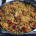 recette Paella catalane  (poulet chorizo)