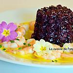 recette Riz noir aux crevettes, sauce au safran et curcuma