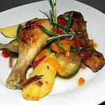 recette Pilons de poulet aux légumes colorés et au romarin