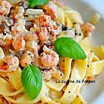 recette Pâtes et sauce crémeuse aux langoustines et champignons