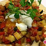 recette Foccacia, ratatouille et oeuf coulant