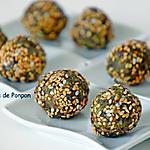recette Boules (barres) aux dattes et aux noix, linette et spiruline, vegan