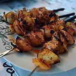 recette Brochettes de pomme de terre et porc mariné