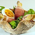 recette Corolles aux asperges blanches, speck
