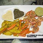 recette Crevettes sautées à l'ail/Jardinière de légumes