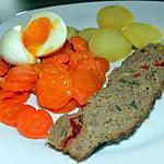 recette Pain de viande et son accompagnement de carottes et d'oeufs mollets