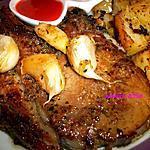 recette Côtes de porc marinées à l'ail, cuites au four