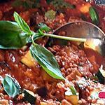 recette Bolognese à l'aubergine courgette et basilic