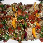 recette Brochettes de boeuf(merlan)sauce vierge