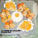 recette Brochettes de gambas poêlées/légumes sautés/riz à la créole