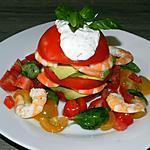 recette Tourelle de tomates à l'avocat et aux scampis