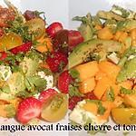 recette SALADE DE MANGUE AVOCAT FRAISES