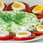 recette Salade de tomates et concombre aux oeufs