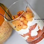 recette Verrine au saumon fumé, melon et crème d'artichaut