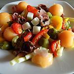 recette Salade de pâtes aux légumes du sud-anchois-fromage de chèvre et melon