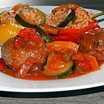recette Poivrons farcis au riz et ses boulettes sauce provençale