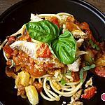 recette Pâtes au bar croustillant au basilic, sauce aubergine et tomates fraîches