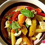 recette Salade de pâtes au poulet , poivrons grillés, mozzarella ,basilic