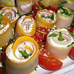 recette Roulés de courgettes au chèvre et jambon de Rosinette