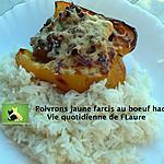 recette Poivrons jaune farcis au bœuf haché