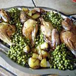 recette Coquelets rotis petits pois et pommes de terre roties