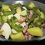 recette Salade de pomme de terre aux haricots princesse lardons et oeufs